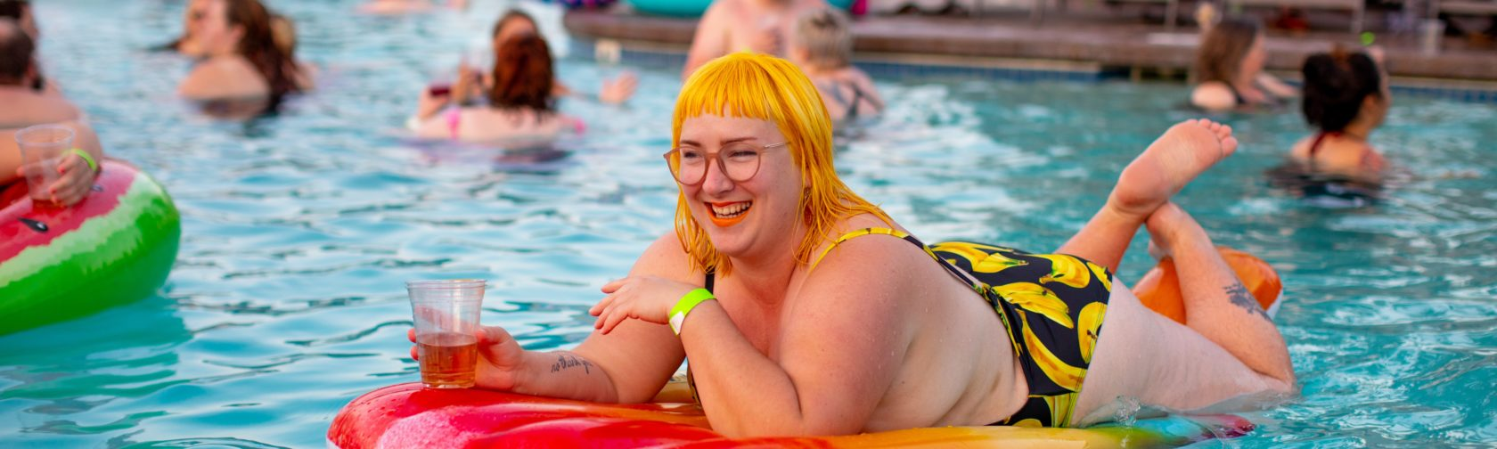 Plus size woman in the pool - Anat Geiger's blog about body image